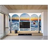 Xzfddn Gewohnheit 3D Fototapete 3D Römische Spalte Hai Tapeten Für Wohnzimmer Foto Wandbild Tapete Home Dekoration-200X140CM