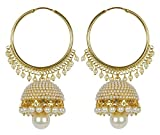 #9: Meenaz Traditional Ethnic Gold Plated Pearl Jhumka Earrings For Women