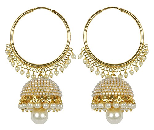 Meenaz Traditional Ethnic Gold Plated Pearl Jhumka Earrings For Women