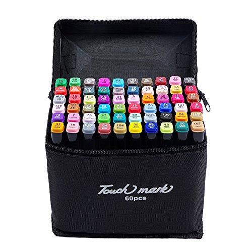 Mengma Schwarz Twin Marker Breit und Fine Point Tipp Graphic Marker Pen - 60 Farben für Design mit schwarzem Bagi 60 Farben für Schüler