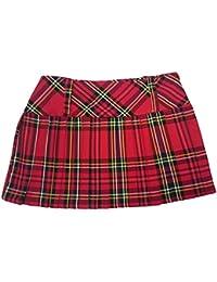 Rojo de cuadros escoceses Mini Falda–12IN (30,5cm)