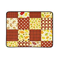 SHAOKAO Red Autumn Patchwork Portable And Foldable Blanket Mat 60x78 Inch Handy Mat For Camping Picnic Beach Indoor Outdoor Travel