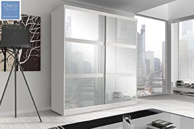 FAST&FREE DELIVERY SLIDING DOOR WARDROBE 6 ft (183cm) 'REFLECTION' MULTI F10 WHITE produced by CHECO LTD - quick delivery from UK.