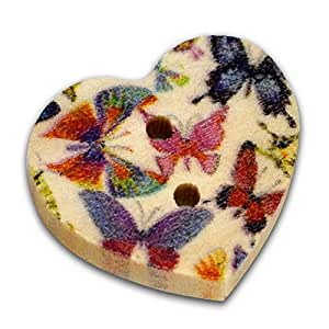 Pack of 20 Butterfly Print 2 Holes Wooden Heart Buttons, for Sewing, Scrapbooking, Embelishments, Crafts, Jewellery making, shabby chic, Knitting, 17x15mm