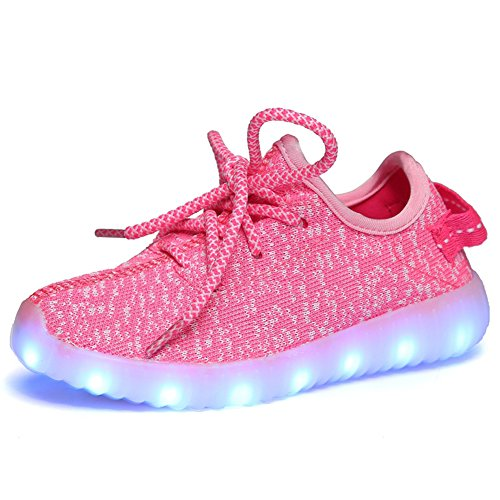 Fortuning's JDS Unisexe Enfants Lacer LED Chaussures Lumineux Clignotant Sneakers Filage Tenue de sport Rose