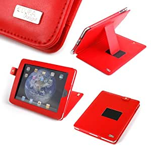Duragadget Multi-Angle Leather Case with Stand and Screen Protector for Apple iPad WIFI and 3G - Red