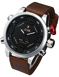 Zeiger Montre sport numérique étanche à quartz pour homme avec bracelet en cuir Marron et noir