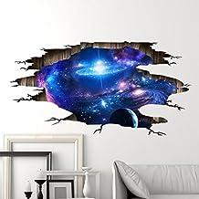 Etiqueta engomada estereoscópica de la pared de la emulación 3D de WYQLZ Etiqueta engomada cósmica moderna creativa de la pared del arte de Décor de la decoración casera de alta calidad de la