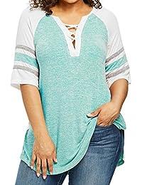 PAOLIAN Blusa de Mujer Otoño 2018 Tallas Grandes Blusa de Hueco Escote V Manga 3/4 Ropa para Mujer Estampado de Rayas Camisetas Ancho…