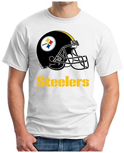 OM3 Pittsburgh Steelers - T-Shirt | Herren | American Football Shirt | Super Bowl 52 LII | NFL | S - 5XL Weiß