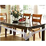 Oneness Fashion 8 To 10 Seater 60 X 108 Inch Silver Border Transparent Waterproof Table Cover Sheet Mat PVC Plastic Dining Ractangle