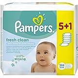 Pampers Feuchttücher Fresh Clean Vorteilspack, 5 Packungen + 1 Gratis, 2er Pack (2 x 384 Tücher)