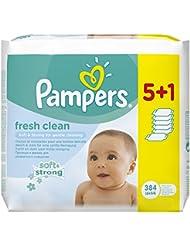 Pampers Feuchttücher Fresh Clean 5 Packungen + 1 Packung Gratis, 384 Stück