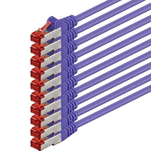 1aTTack.de Netzwerkkabel Cat 6 (3m - violett - 10 Stück) Ethernetkabel Lankabel Cat6 Sftp Patchkabel Set 1000 Mbit/s Internet DSL Anschluss Router Computer
