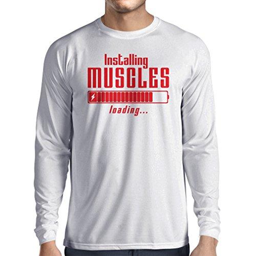 Langarm Herren t shirts Muskelarbeit Kleidung - für Muskelaufbau Meister, Vintage Design, Fitness Kleidung (X-Large Weiß Rote) (Tank Cotton Fit Dri)
