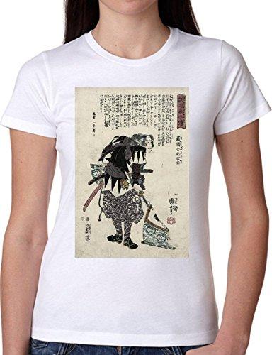 T SHIRT JODE GIRL GGG22 Z1837 JAPAN DRAWING VINTAGE SAMURAI EXOTIC FUN FASHION COOL BIANCA - WHITE