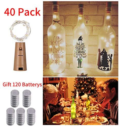 (20 LED 2MFlaschen-Licht Weinflasche Lichter mit Kork korken 10 Pack Batteriebetriebene Cork Form Kupferdraht Bunte Fee Mini String Lichter für DIY Party Decor Weihnachten Halloween Hochzeit (Warmweiß))