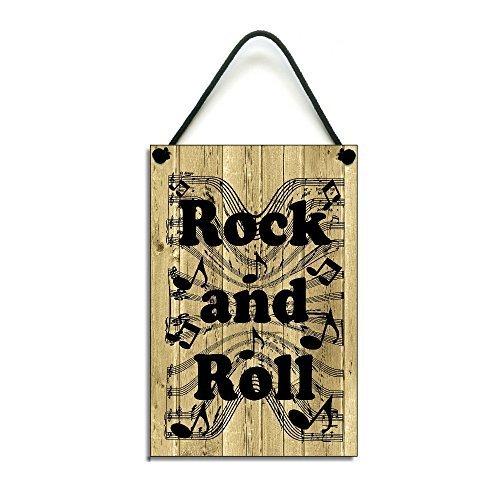 Claude16Poe Rock und Roll Handgefertigt aus Holz Home Schild Holz Decor.
