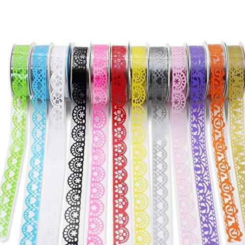 Psmgoods® 12 rotoli di nastro decorativo washi colorato fai da te adesivi nastro adesivo coprente