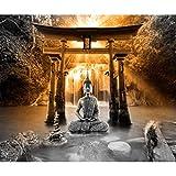 decomonkey Papier peint Bouddha 300x210 cm Trompe l oeil | Déco Mural Tableaux Muraux Photo Zen Orient Chute d'eau Nature