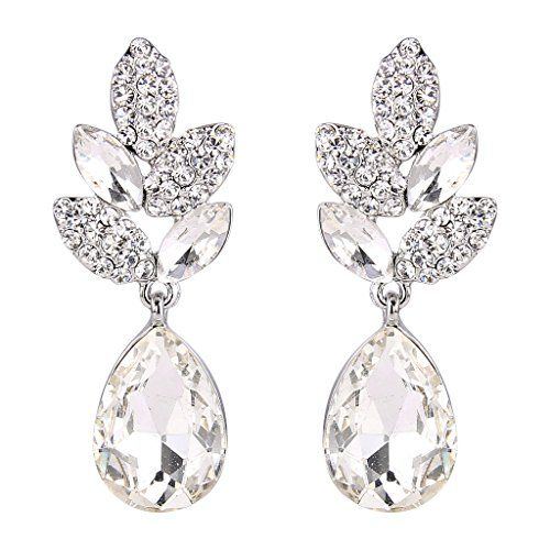 Ever Faith foglia matrimonio silver-tone di cristallo austriaco forma di lacrima chiaro orecchino N03198-3
