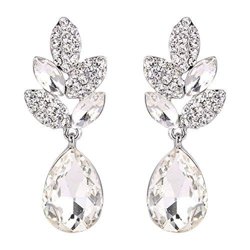 EVER FAITH® Art Deco Kristall Party Ohrringe saphirblau Silber-Ton N03198-4 - Abendkleider Mit Kristallen