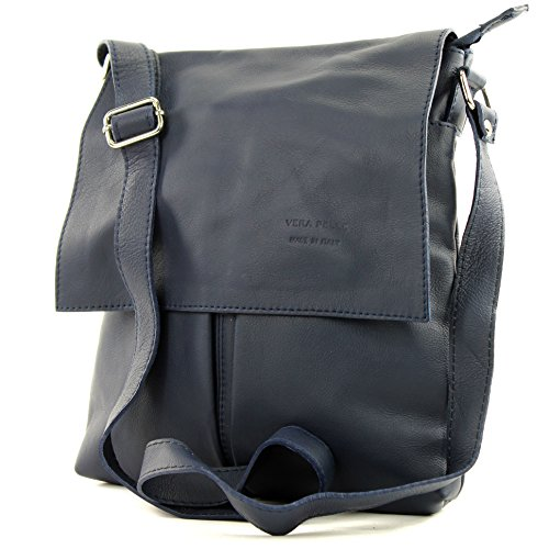 modamoda de - T75 - ital Crossover Umhängetasche Nappaleder, Farbe:Dunkelblau - Blaue Damen Messenger Bag