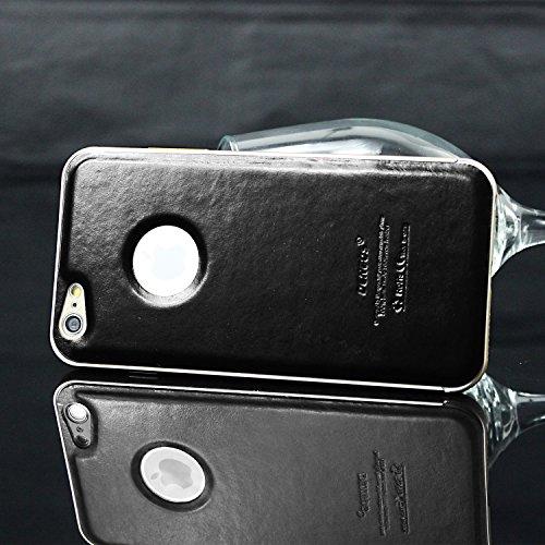 tinxi® Housse en cuir DERMIQUE ultra-mince pour Apple iphone 6 plus / 6S plus (5,5 pouces) étui case coque Couverture arrière avec Cadre en métal motif brun Couverture arrière en noir
