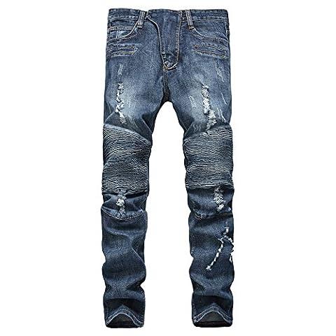 Finrosy Biker Jeans Slim Patalon Straight Stylé en Fashion Troué avec Muti-poches et Genou Ouvert Jean Elastique (36, Bleu)