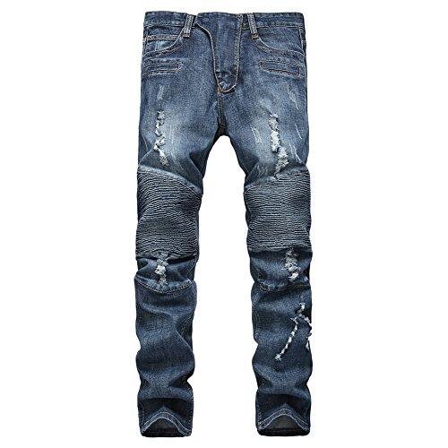 Finrosy Herren Biker Jeans Destroyed Look Slim Fit Hose Zerrissen Verwaschen Denim Jeanshosen (W38/L34, Blau)