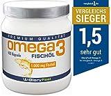 Omega 3 Fischöl-Kapseln 1000mg - 400 Stück Hochdosiert - Mit 180mg DHA und 120mg EPA pro Omega-3 Softgel-Kapsel - Ohne Magnesiumstearate - Der VERGLEICHSSIEGER 2017 * von GloryFeel