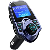 FM Transmitter, VicTsing Car MP3 Player FM Transmitter Bluetooth Handsfree Car Kit Wireless Radio Audio Adapter with Dual USB 5V 2.1A USB Charger, 1.44 Inch LCD Display, 3.5mm Audio Port, TF Card Slot, USB Flash Drive Port For iPhone, iPad, iPod, HTC, MP3, MP4 and Most Devices with 3.5mm Audio Jack-Blue