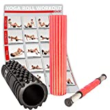 POWRX 3 in 1 Fazien Set inkl. Workout | Faszienrolle für Reflexzonen + Massagerolle zur Selbstmassage + Massagestick für Trigger Punkte