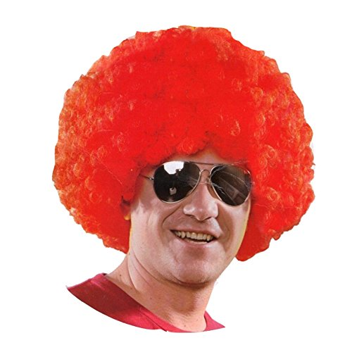 AFRO WIG + AVIATOR SHADES 2 piece set 1970s FANCY DRESS (RED)