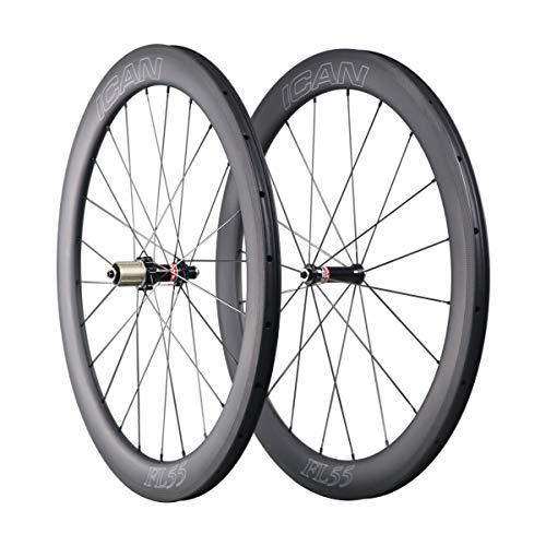 QIQI Bikes Carbon Laufräder Rennrad 55mm Clincher Tubeless Ready TLR Straight Pull Sapim CX-Ray Speiche (Schnelle & Leichte Serie) 1510g (Laufräder Carbon Rennrad)