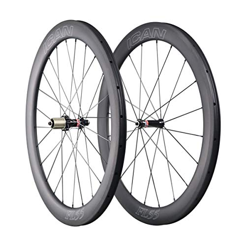QIQI Bikes Carbon Laufräder Rennrad 55mm Clincher Tubeless Ready TLR Straight Pull Sapim CX-Ray Speiche (Schnelle & Leichte Serie) 1510g -