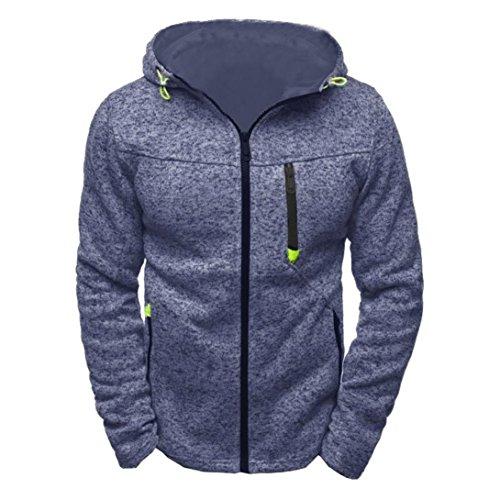 Longra Herren Sportswear Kapuzensweatshirt mit Reißverschluss Herren Kapuzenpullover Sweatshirt Hoodie Männer Herbst Winter Kapuzensweatjacke Strickfleecejacke (XL, Blue) (3-tasten-sweatshirt Für Männer)