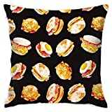Klotr Housses De Coussin, 18x18 inches Square Throw Pillow Covers Hamburger Pattern Pillow Cushion Cases Premium Pillow Cases King for Couch Sofa Bed