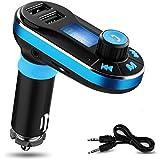 Reproductor de MP3 Bluetooth para el Coche [V. 2.0] YOKKAO Transmisor FM, Manos Libres Tarjeta de memoria micro SD/ Pen Drive/ AUX/ Radio FM Dos puertos USB para Cargar Dispositivos Smartphone/iPhone/Android y otros (Azul)