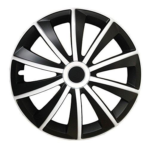 (Größe wählbar) 16 Zoll Radkappen / Radzierblenden GRALO MATT (Schwarz-Weiß) passend für fast alle Fahrzeugtypen - universal (17 Schwarz-chrom Felgen)