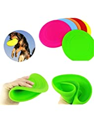 Interesting® Volando suave disco Flexible resistente al diente perro grande al aire libre cachorro mascotas entrenamiento Fetch juguete silicona perro Frisbee por mayor