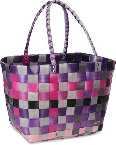 Einkaufskorb Shopper geflochten aus Kunststoff - robuster Strandkorb aus wasserabweisendem Material Classic / Dark Princess