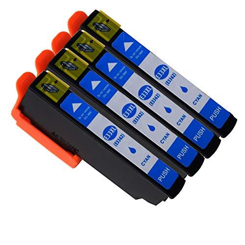 Ouguan Compatibile per Cartucce Epson 33XL 33 per Epson XP-640 XP-530 XP-830 XP-645 XP-540 XP-900 XP-630 XP-635 XP-7100-5 Ciano