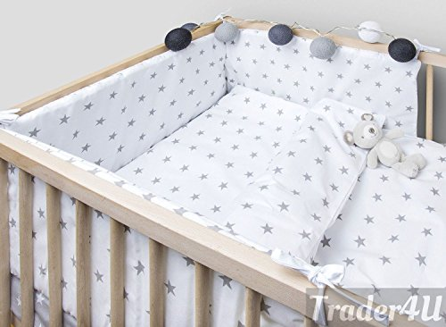 MillaLu 5 Pcs Baby Nursery Bedding Set fit to Cot 120x60cm or Cot Bed 140x70cm Padded Bumper (Fit to Cot 120x60 cm, Grey Stars on White)