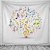Musik Hinweis Wandteppiche Musik Tapestry Psychedelisch Tapisserie Wandtuch Bohemian Wall Hanging,Wanddeko Indisch Wandbehang Strandtuch,Tagesdecke,Tuch,Wohnheim Dekor Muster2 150cmX200cm