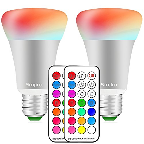 (2 Pack)RGBW 10W E27 Led Colores Cambiantes Lámpara,Sunpion® Bombilla Bulbo LED AC 85-265V, LED Lmpara Bombilla 12 Colores Mando a Distancia Led RGB Light Bulb