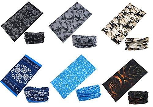 Datechip Mulit purpose Headband Bandana - for Women Men 12-in-1 Sports Magic Scarf UV Insect Shield Wristband Balaclava Headwrap Neck Gaiter
