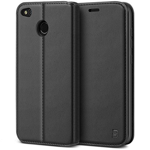 BEZ Hülle für Xiaomi Redmi 4XHülle, Handyhülle Kompatibel für Xiaomi Redmi 4XTasche, Case Schutzhüllen aus Klappetui mit Kreditkartenhaltern, Ständer, Magnetverschluss, Schwarz