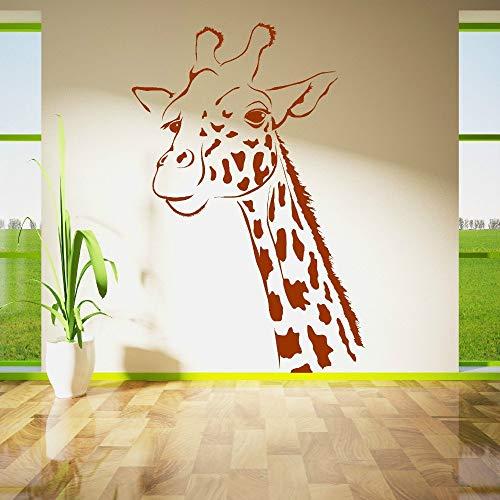 hllhpc Große Giraffe Kopf Wandaufkleber Kindergarten Kinderzimmer Afrikanischen Langen Hals Vorderbeine Tier Wandtattoo Park Schlafzimmer Wohnzimmer Vinyl 56 * 37 cm - Park Schlafzimmer
