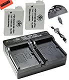 2-Pack Of LP-E8 LPE8 Batteries And Dual Battery Charger Kit For Canon EOS Rebel T2i T3i T4i T5i EOS 550D EOS 600D EOS 650D EOS 700D DSLR Digital Camera
